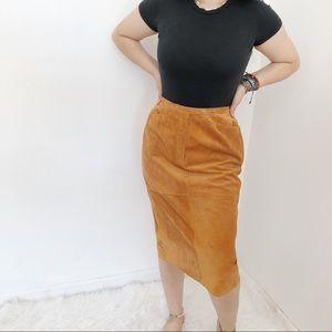 Vintage Suede Tan Pencil Skirt Sz10